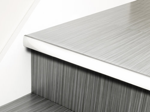 Stair Nosing and Premier Lips Stair Nose LVT Full Bull Chrome, Nickel, Pewter, Black Rug